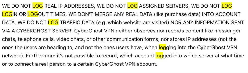 cyberghost-log-policy